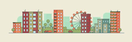 Color city landscape with the ferris wheel on summer background. Panoramic vector flat illustration Imagens - 95928911