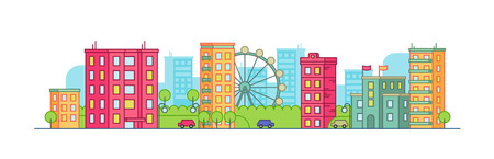 Color city landscape with the ferris wheel on summer background. Panoramic vector flat illustration