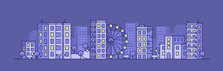 City landscape with the Ferris wheel in the night. Panoramic vector flat illustration