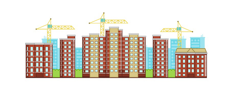 Brick new buildings with crane on a background. Vector horizontal illustration.