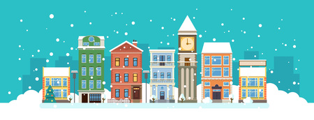The city in christmas. Winter landscape. Vector flat illustration.