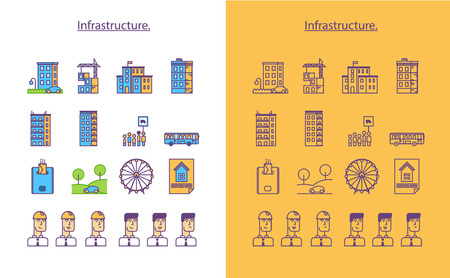 infrastructure of a city. Flat vector icon set. Imagens - 96381819