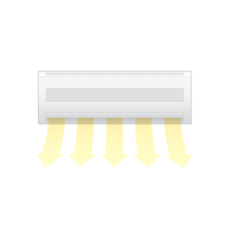Air conditioner blow warm isolated on white background. Vector illustration