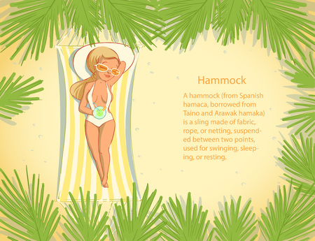 Cute girl in a hammock at the summer lounge under a palm with coctail. Vector illustration