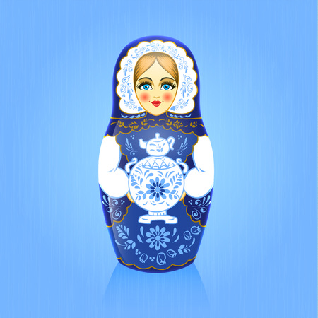 Gzhel painting blue russian babushka or matrioshka doll with samovar on blue background.