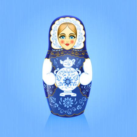 Gzhel painting blue russian babushka or matrioshka doll with samovar on blue background. Imagens - 95957370