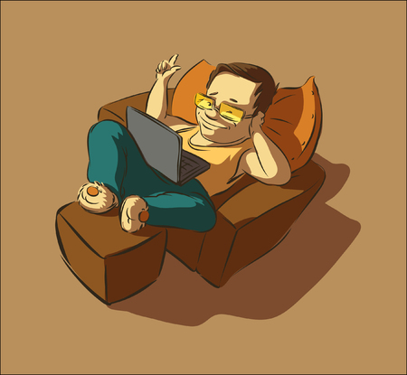 Lazy man with a laptop clicks on the button Stock Illustratie