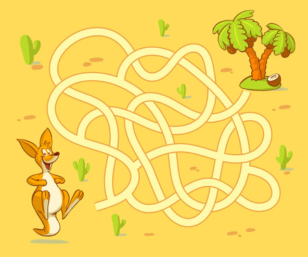 Help kangaroo cub find path to palm. Labyrinth Maze game for kids