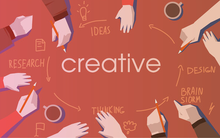 creative of teamwork analyzing project. flat vector illustration Imagens - 95929099