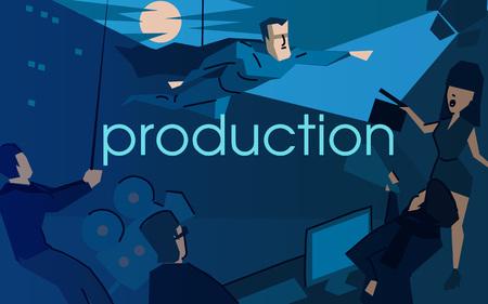 Movie production flat vector illustration