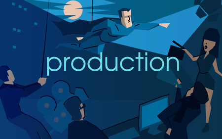 Movie production flat vector illustration