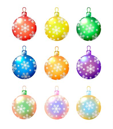 christmas colored balls with snowflakes