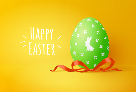 Green easter egg with cute bunny on yellow background. Greeting card with text. Spring color vector illustration