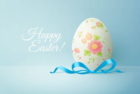 Happy easter greeting card with white egg and blue bow. Vector illustration
