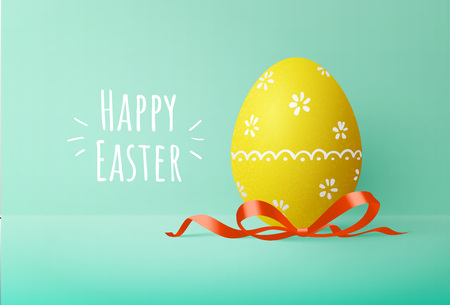 Painted easter egg with red bow on green background. Greeting card with text. Vector illustration. Ilustração