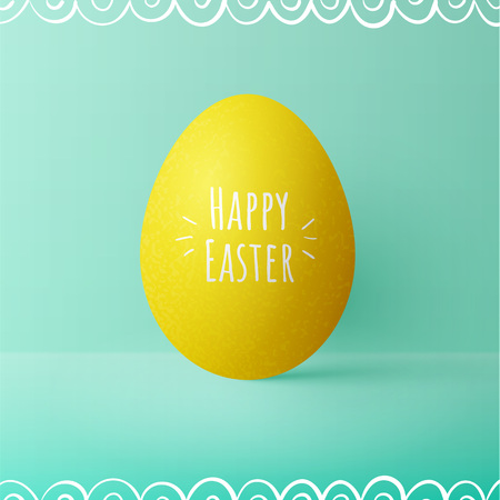 Yellow realistic easter egg on green background. Greeting card with text. Vector illustration. Vettoriali