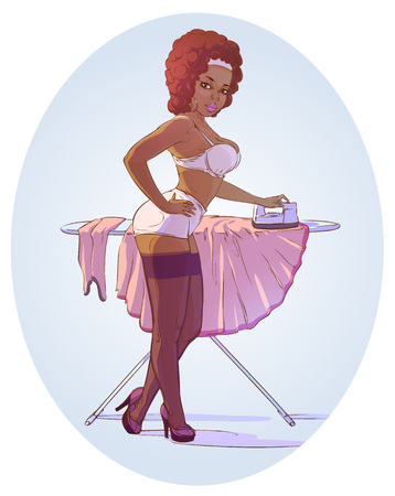 Nude pin up pretty girl. Make a domestic work. Vintage style vector illustration Çizim