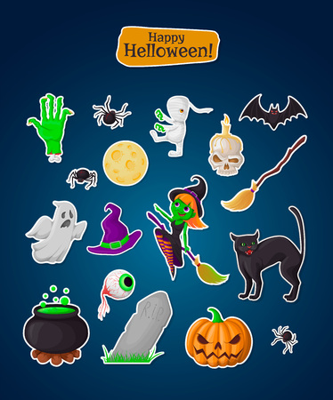 Set of halloween stickers. Holidays pictograms collection of pumpkin, ghost, magic hat, pot, potion, skull, zombie, witch, bat, spider, eye, grave, broom, moon, hand, black cat. Vettoriali