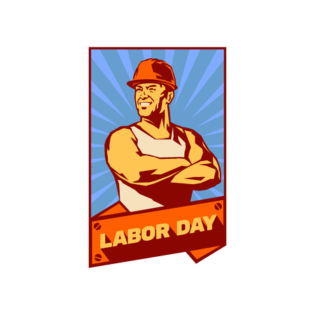 Worker day or labor day. May 1. The day of the workers solidarity. Vector icon illustration. Vettoriali