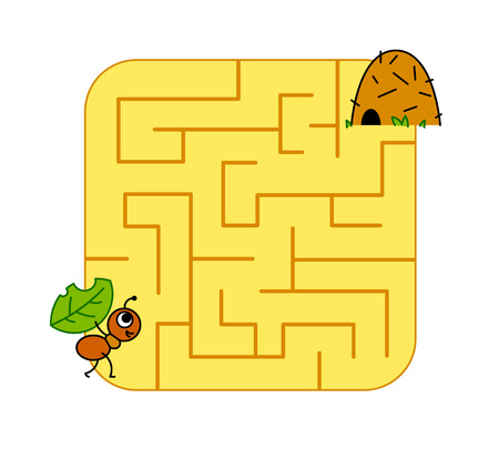 Help baby ant cub find path to anthill. Labyrinth. Maze game for kids. Vector puzzle.
