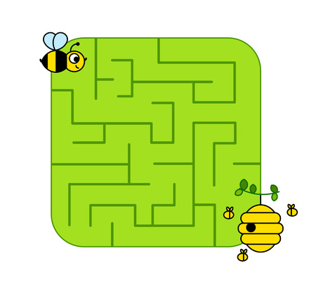 Help baby bee cub find path to hive. Labyrinth. Maze game for kids. Vector puzzle.