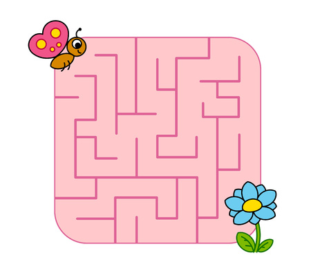 Help baby butterfly cub find path to flower. Labyrinth. Maze game for kids. Vector puzzle.