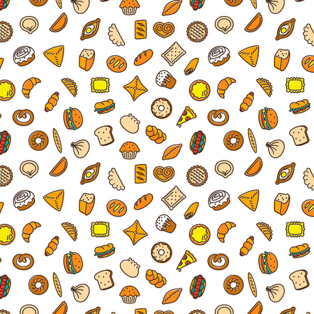Bakery products. Fast food. Patty pattern color illustration. Ilustração