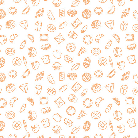 Bakery products. Fast food. Patty pattern stroke illustration. Vettoriali