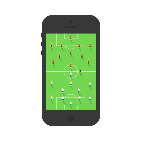 Soccer on mobile phone. Soccer players on the stadium. Flat style illustration