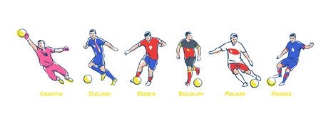 Soccer players kick the ball. Soccer teams Iceland, Croatia, Serbia, Belgium, Poland, France. Colorful vector illustration