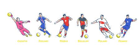 Soccer players kick the ball. Soccer teams Iceland, Croatia, Serbia, Belgium, Poland, France. Colorful vector illustration Imagens - 101933419