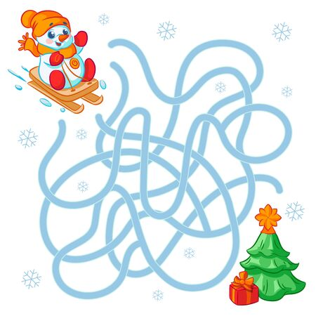 Help cute snowman find the right path to the cloud. Labyrinth. Maze game for kid. Merry christmas and happy new year