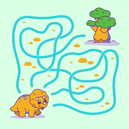 Help cute dino find the right path to tree. Labyrinth. Maze game for kids. Vector illustration. Vettoriali