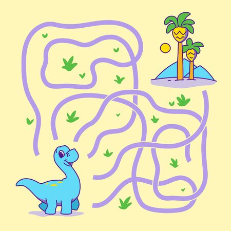Help cute dino find the right path to palm. Labyrinth. Funny maze game for children. Vector illustration.