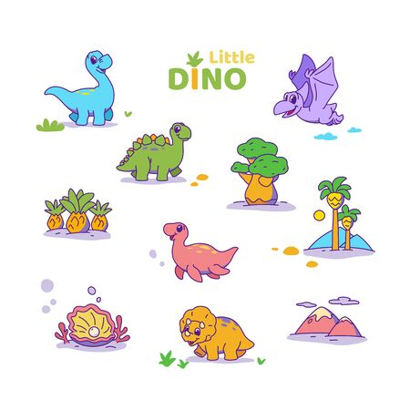 Isolated little cute dinosaurs. Dino set in white background. Vector illustration