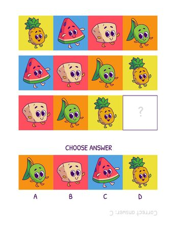 Cute pineapple, watermelon, tofu, olive. Logic game for children preschool worksheet activity for kids, task for the development of logical thinking and mind. Funny cartoon fruits and vegetables. Ilustração