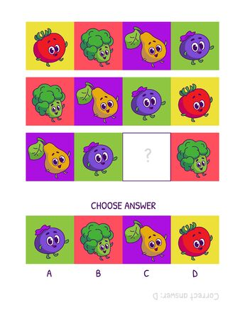 Cute tomato, broccoli, pear, blueberries. Logic game for children preschool worksheet activity for kids, task for the development of logical thinking and mind. Funny cartoon fruits and vegetables.