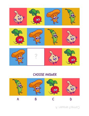 Cute garlic, radish, chanterelle, peas. Logic game for children preschool worksheet activity for kids, task for the development of logical thinking and mind. Funny cartoon fruits and vegetables.