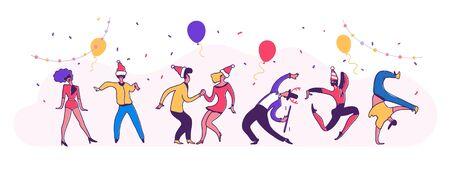 New year party dance. Happy business people at a Christmas and New Year's corporate party. Happy men and women dancing and having fun. Panoramic vector illustration.