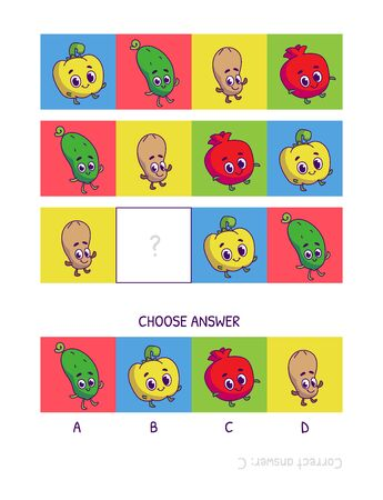 Cute pepper, cucumber, peanut, pomegranate. Logic game for children preschool worksheet activity for kids, task for the development of logical thinking and mind. Funny cartoon fruits and vegetables.