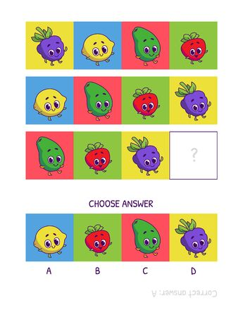 Cute blackberry, lemon, avocado, strawberry. Logic game for children preschool worksheet activity for kids, task for the development of logical thinking and mind. Funny cartoon fruits and vegetables.