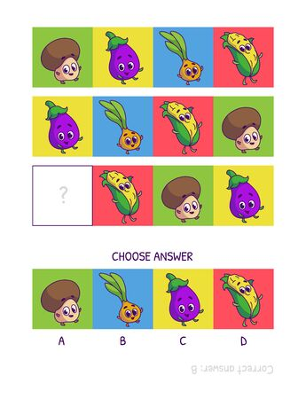 Cute champignon, eggplant, onion, corn. Logic game for children preschool worksheet activity for kids, task for the development of logical thinking and mind. Funny cartoon fruits and vegetables. Vettoriali