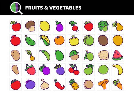 Fruits and vegetables flat vector icons set. colored line and fill. Vettoriali