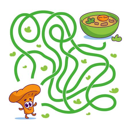 Help cute mushroom chanterelle find path to soup. Labyrinth. Vegan maze game for kids. Vector illustration on white background.