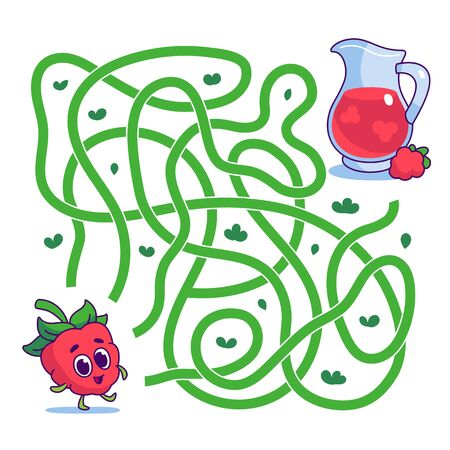 Help cute raspberry find path to juice. Labyrinth. Vegan maze game for kids. Vector illustration on white background. Vettoriali