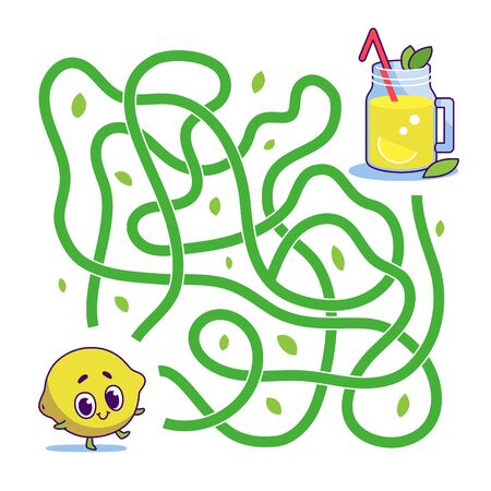 Help cute lemon find path to lemonade. Labyrinth. Vegan maze game for kids. Vector illustration on white background.