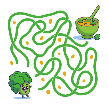 Help cute broccoli find path to soup. Labyrinth. Vegan maze game for kids. Vector illustration on white background.