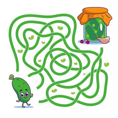 Help cute cucumber find path to pickles. Labyrinth. Vegan maze game for kids. Vector illustration on white background.