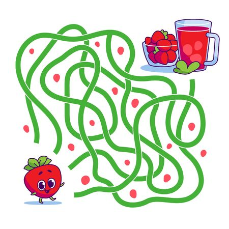 Help cute strawberry find path to compote. Labyrinth. Vegan maze game for kids. Vector illustration on white background.