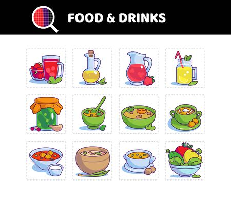 Food and drink vector icon set. Colored symbol. Tomato soup, busy day soup, compote, lemonade and etc.